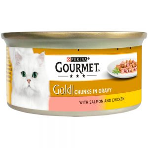 GOURMET Gold Salmon & Chicken in Gravy Can, 85g