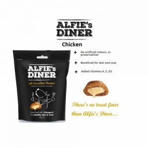 ALFIE'S DINER Chicken Flavoured Dog Treat with Omega-3, 100g