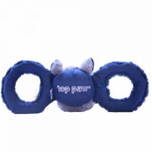 TOP PAW Pull-n-Squeak Rhino with Rope Large Grey